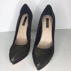 Bcbgmaxazria Leather Black Gold Metallic Heels